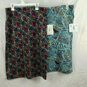 Two LuLaRoe Cassie Skirts Geometric Shapes Print